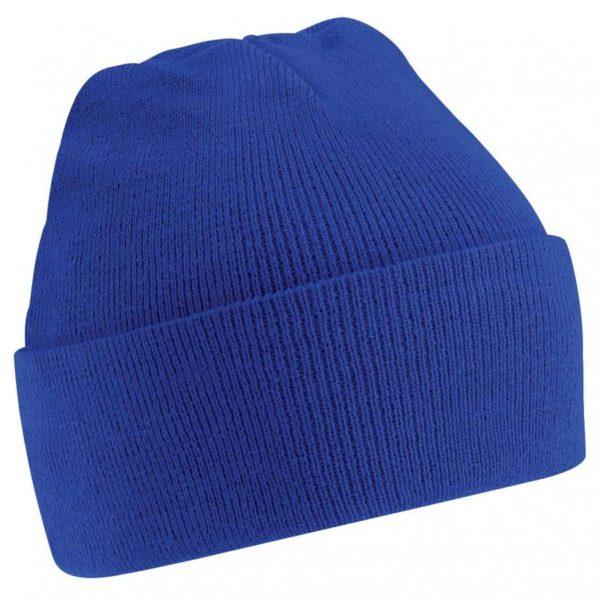 Royal blue cuffed beanie hat-0